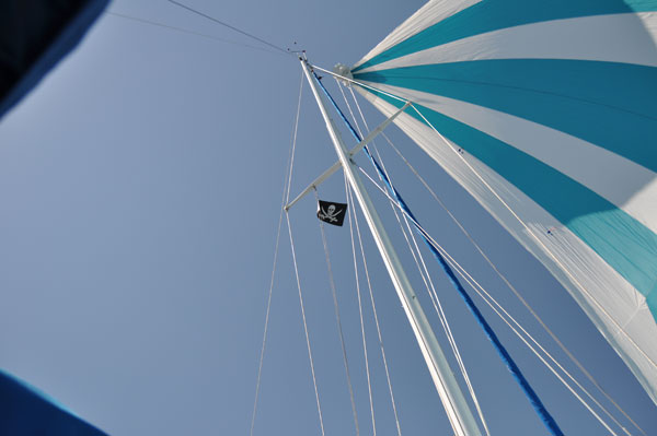 blue asymmetrical spinnaker